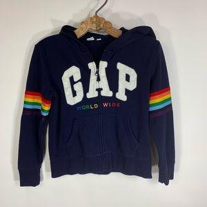 GAP Rainbow Zip Front Hoodie Navy Blue Sz 12 XL